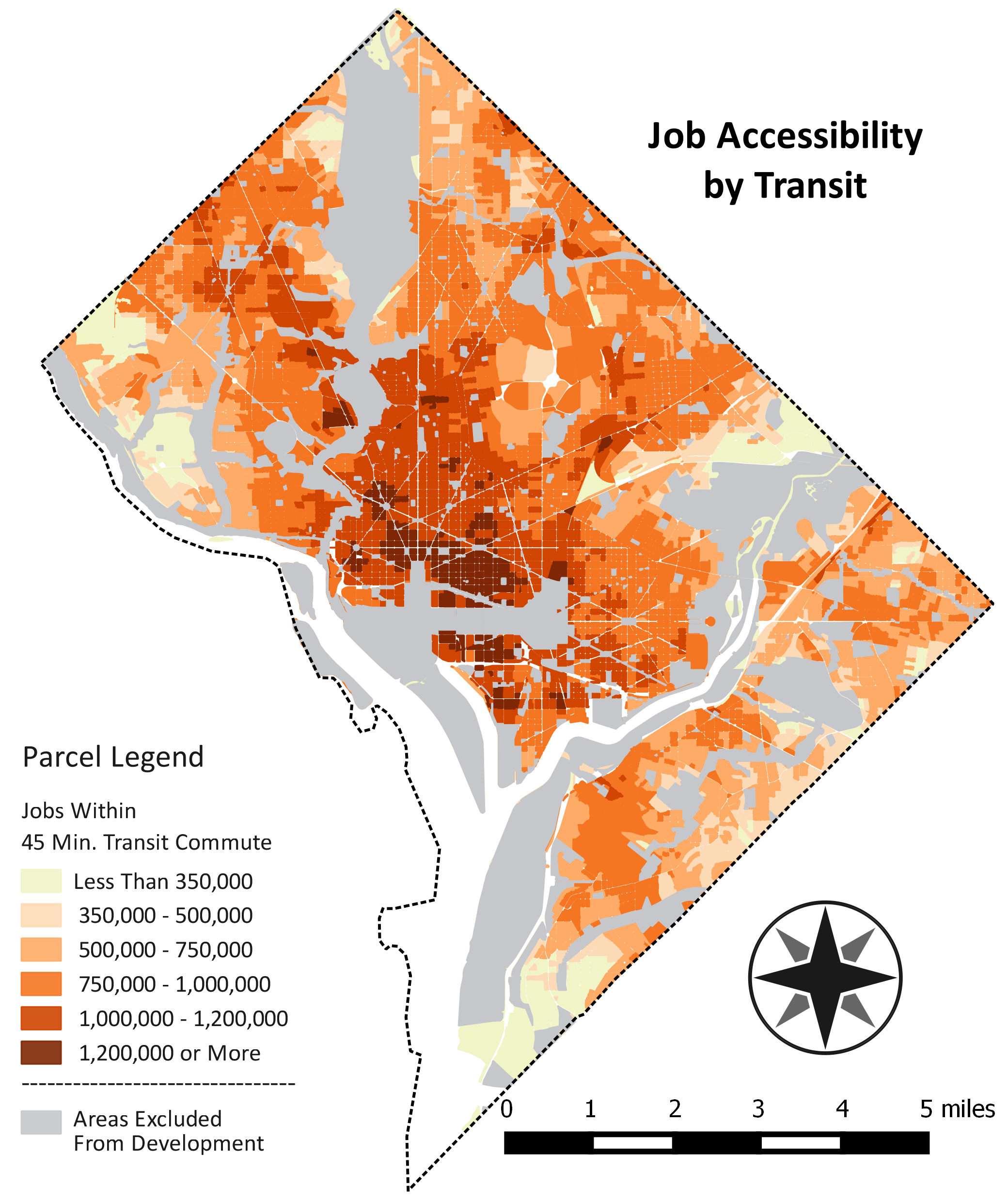 Map of Job Accessibility by Transit
